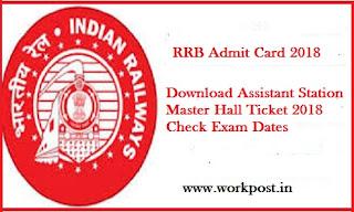 RRB ASM Admit Card 2018