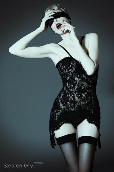 lace corset coorsetorium collection silk blindfold made in london atelier captured by stephen perry sensual photography