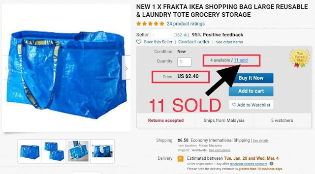 Jual Beg Ikea di ebay pada harga USD2.40 (RM9.60) - 11 Unit Sold
