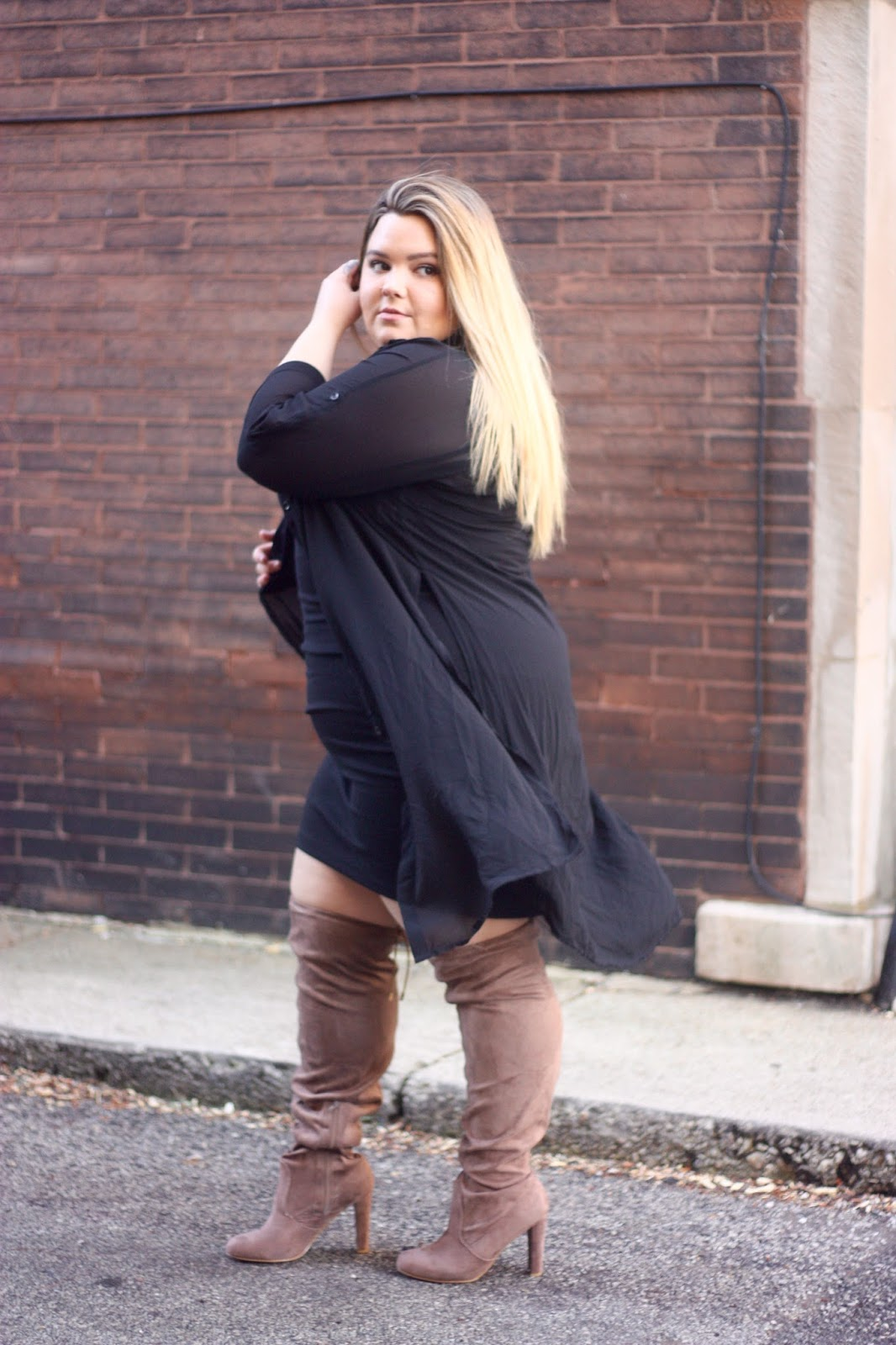 wide calf thigh high boots, where to find wide calf boots, plus size fashion blogger, natalie craig, chicago blogger, chicago, midwest blogger, lifestyle blogger, fashion, what fat girls wear, curvy, thigh high suede boots, fashion to figure