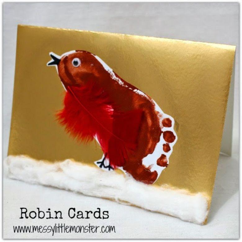 footprint robin winter craft for kids