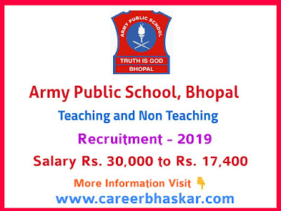Army Public School, Bhopal Recruitment 2019
