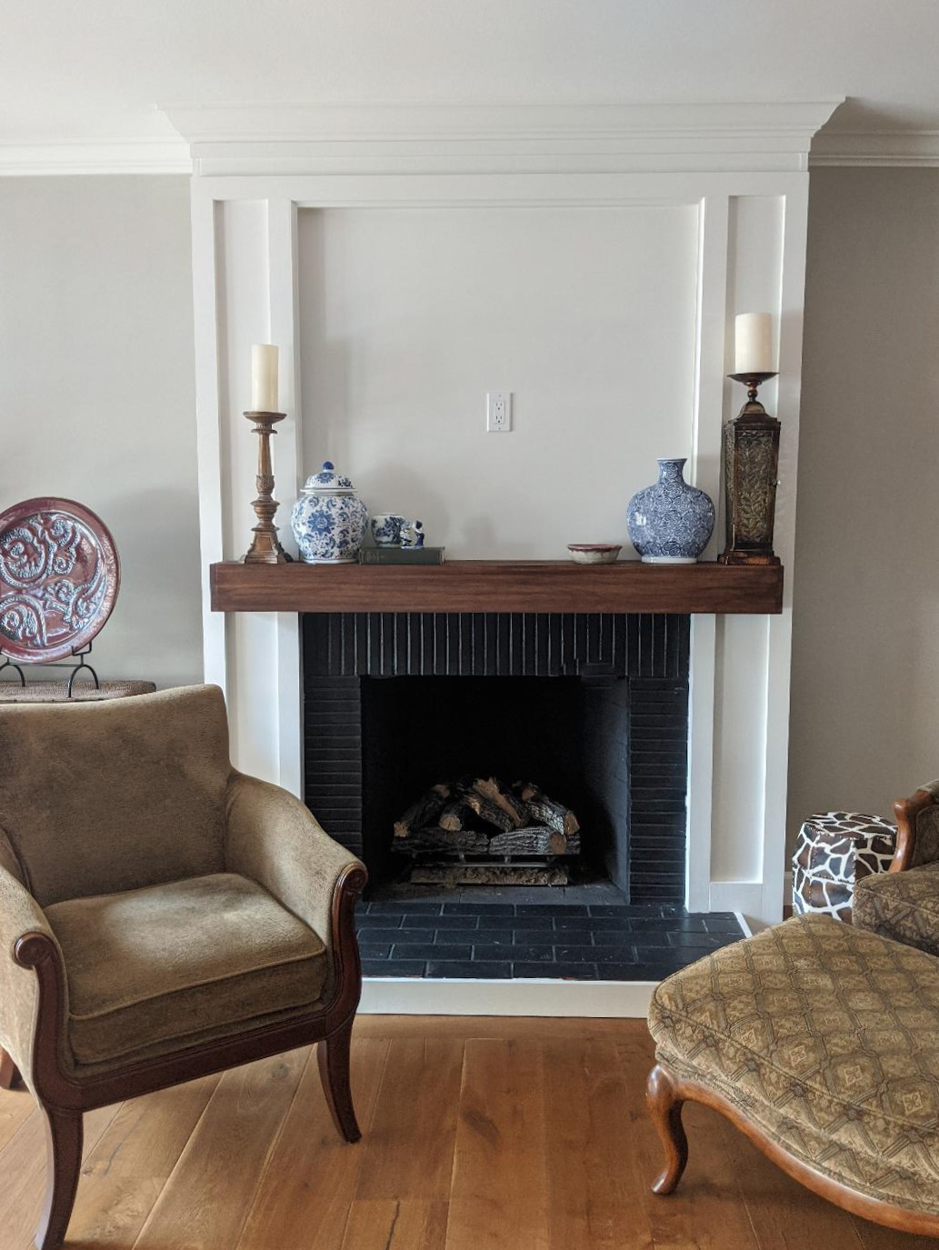 ireplace makeover black white modern farmhouse transitional brick wood mantel hearth surround