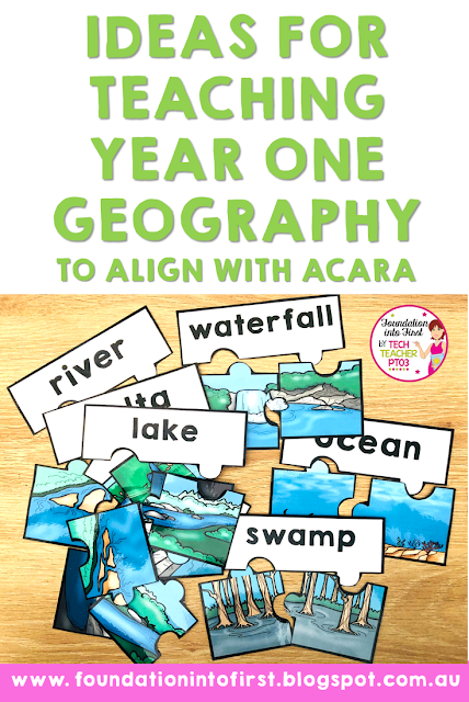 Ideas for teaching Year One Geography to align with the Australian curriculum. Resources, puzzles, workbook, worksheets, posters, activities and slides for teaching geography to early years students.