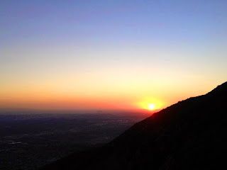 View southwest from Bailey Canyon Trail toward Pasadena and the last sunset of 2014