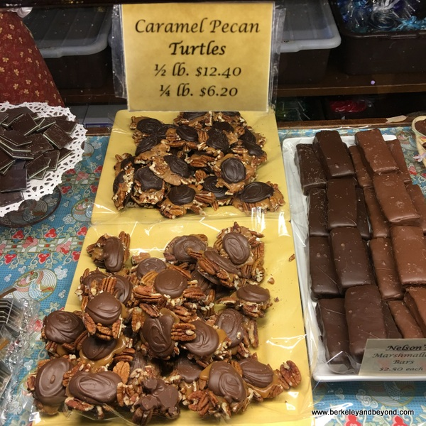 caramel-pecan turtles at Nelson's Columbia Candy Kitchen in Columbia State Historic Park in California