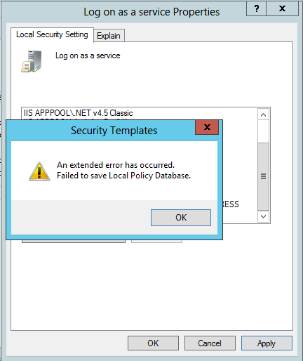 Fix error: an extended error has occurred failed to save local policy database