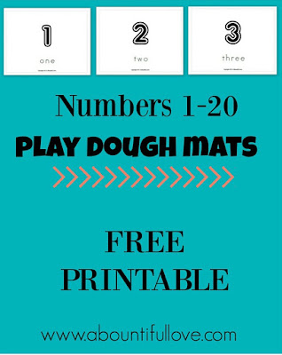 Free Numbers Play Dough Mat printable