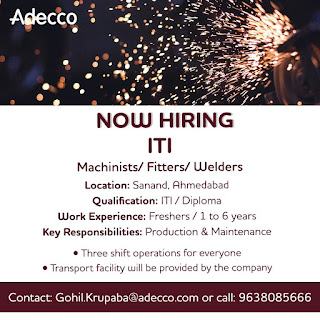 Multiple Job Openings for ITI trained candidates Machinists/Fitters/Welders In FMCG Company Sanand, Ahmedabad