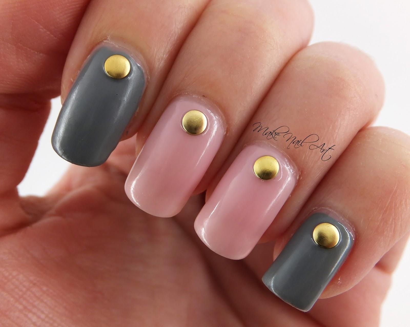 Make Nail Art Pink And Grey Nails Nail Art Design