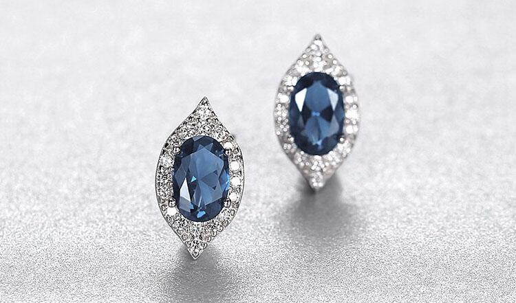 蘇菲亞橄欖形人造寶石 925純銀耳環