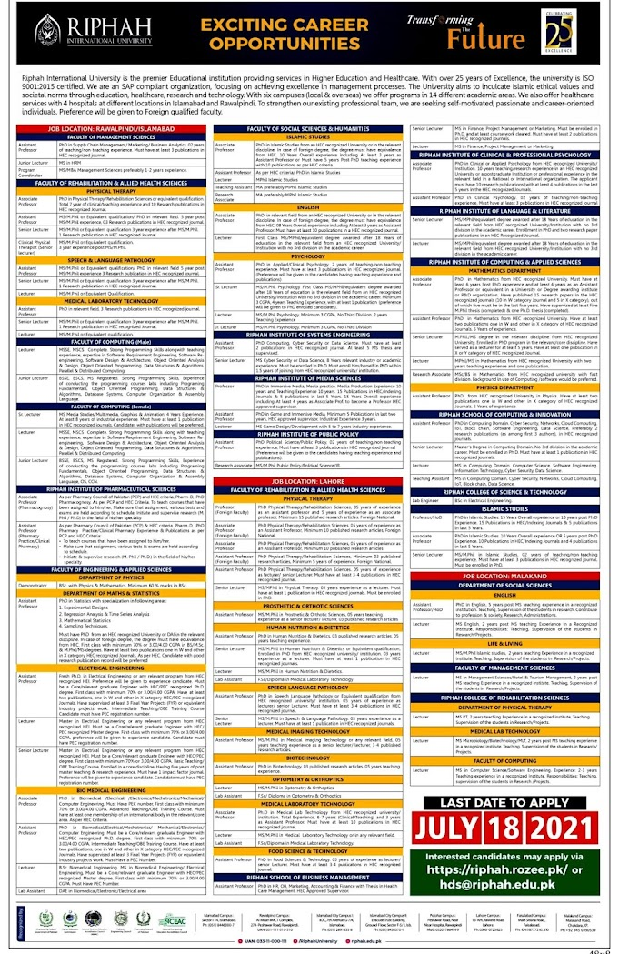 Riphah International University RIU Latest Jobs For Teaching Assistant, Lecturer, Lab Engineer & Other   2021 - Apply online