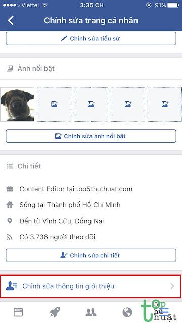 Chỉnh sửa thông tin giới thiệu Facebook