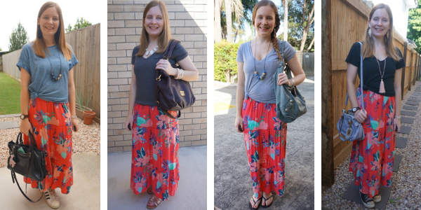 4 outfits ideas for kmart floral tiered maxi dress layered with tees awayfromblue blog