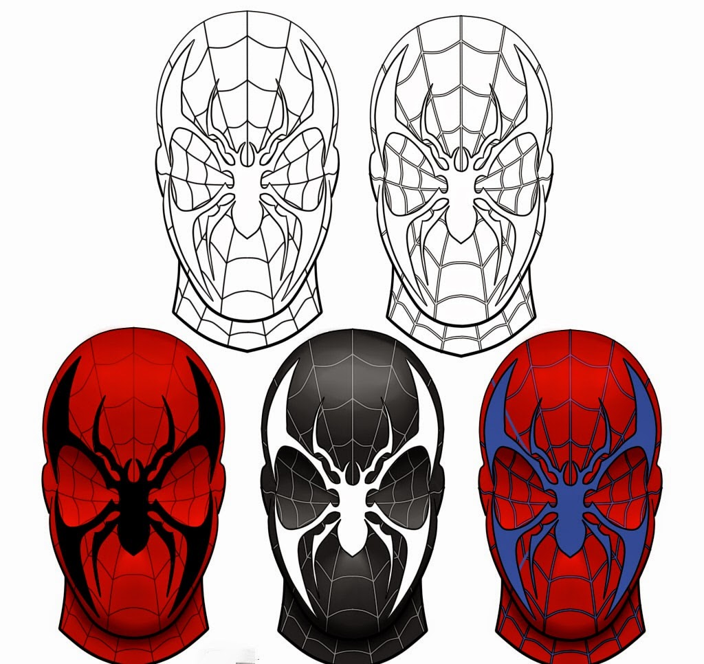 Coloriage spiderman masque coloriage en ligne - Dessiner spiderman facile ...