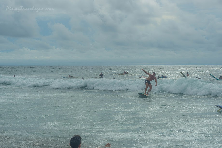 Newbie and avid surfers riding the waves