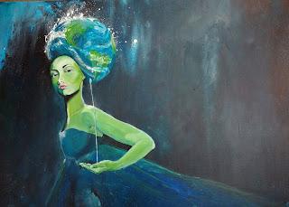 gaia, art, kunst, indretning, noget til vægen, interiør, bolig indretning, farverig, colourfull, contemporary, artsy, abstract, jorden, planet, healty, waterfall, ozone, blue, girl, mother earth, paintings, maleri