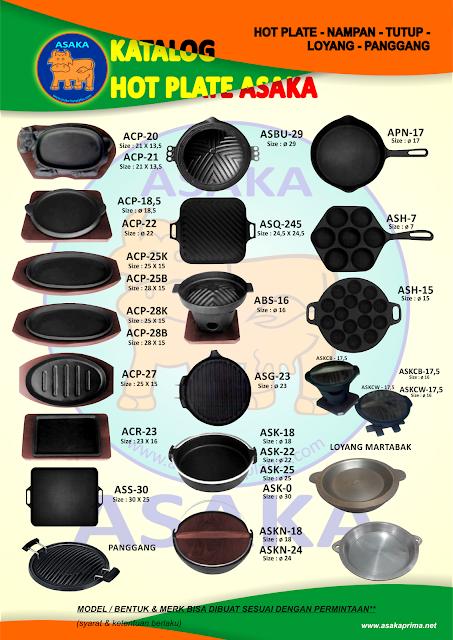 Tempat Grosir hot plate Asaka dengan berbagai macan jenis, seperti: bulat, kotak garis, kotak polos, model sapi, oval garis, oval polos panjang, oval polos