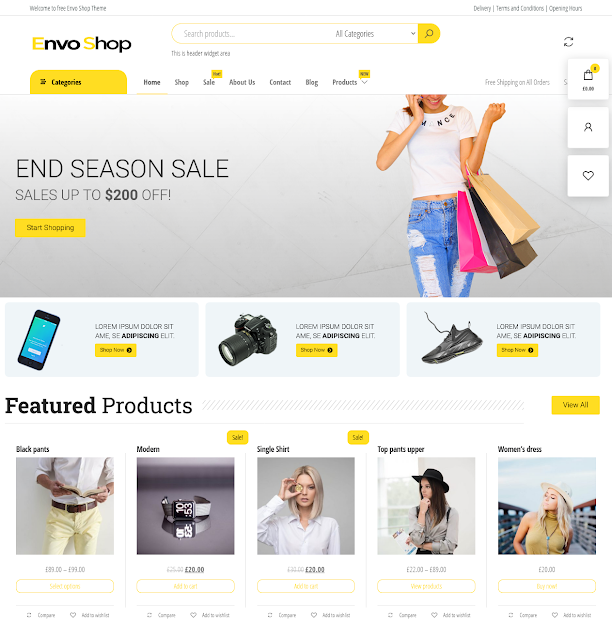 Envo Shop | Top 10 Best Free Ecommerce Themes For WordPress Online Store