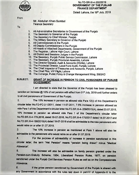 GRANT OF INCREASE IN PENSION TO CIVIL PENSIONERS OF PUNJAB GOVERNMENT