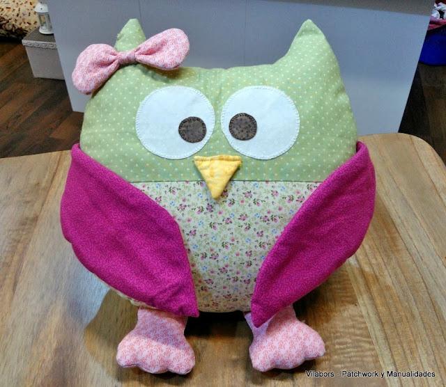 Búho hembra de patchwork hecho por Yolanda
