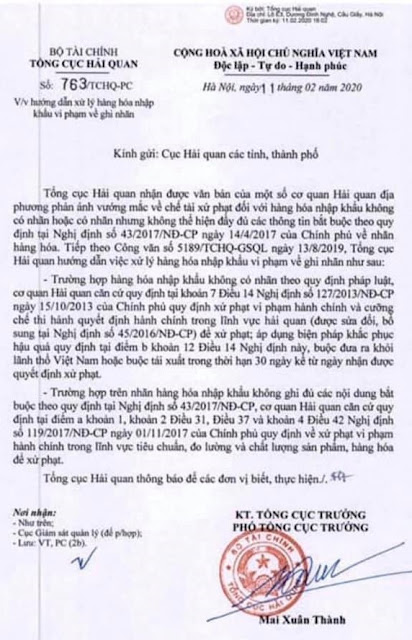Công văn xử phạt nhãn mác 763/TCHQ- PC