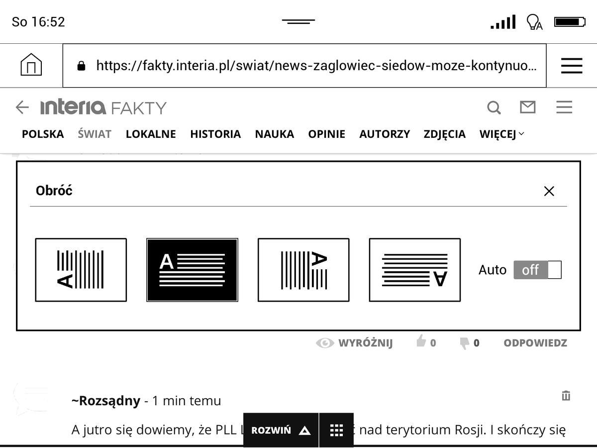 Przeglądarka w PocketBook InkPad 3 w trybie poziomym