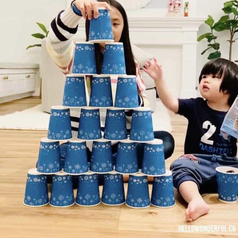 indoor activities for kids - paper cup stacking