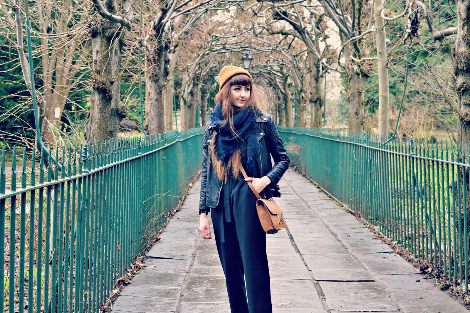 topshop boutique jumpsuit, finery boots, monki hat, hermes bag
