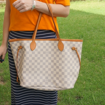 orange and navy tee and maxi skirt outfit with Louis Vuitton MM damier azur neverfull | away from the blue