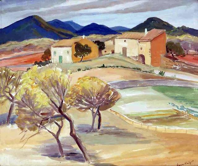 Gwendolyn Clarine Knight, Mallorca en Pintura, Cala San Vicente, Mallorca en Pintura, Paintirng of Cadaqués, Mallorca pintada, Paisajes de Mallorca, Mallorca en Pintura