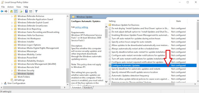 Đường dẫn Windows update trên Group Policy