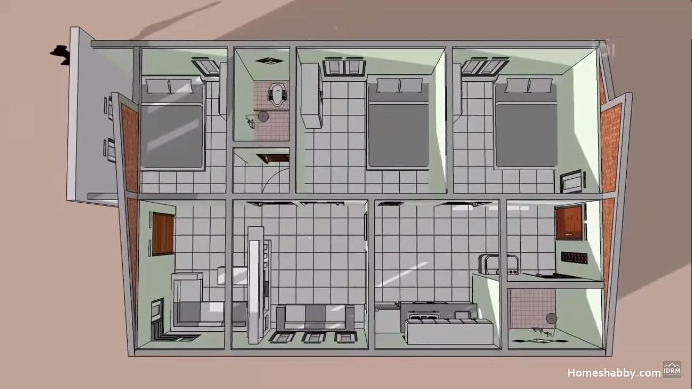 Rumah Minimalis Lantai 1 Ukuran 6 X 10 M Dengan 3 Kamar Tidur Yang Nyaman Dan Asri Buat Keluarga Homeshabby Com Design Home Plans Home Decorating And Interior Design