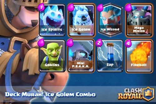 Deck Murah Ice Golem di Arena 8 Clash Royale