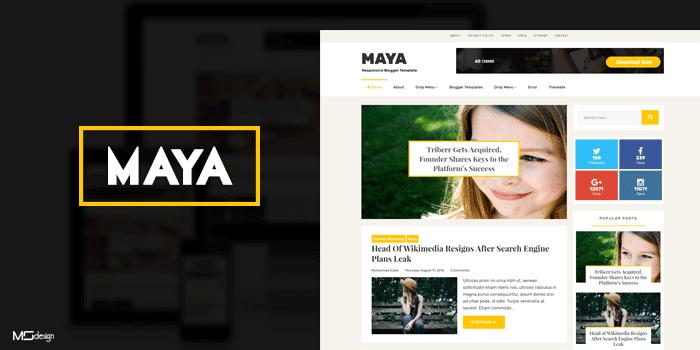 Maya professional blogger template responsive