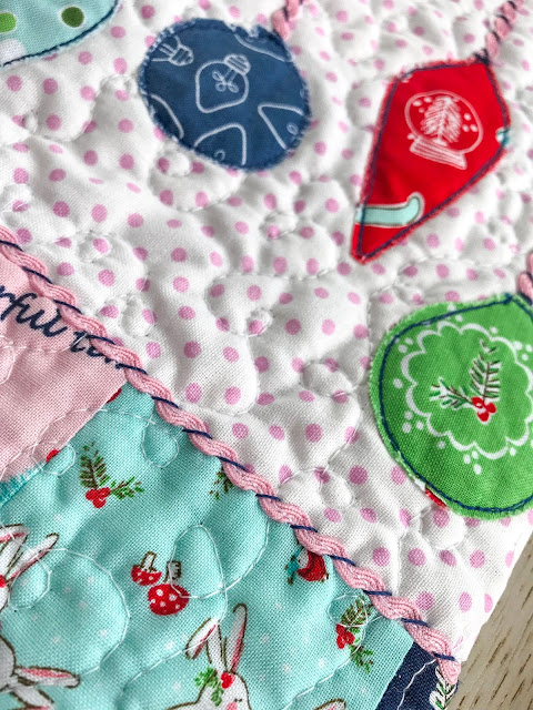 Christmas stocking with applique baubles by Anorina Morris