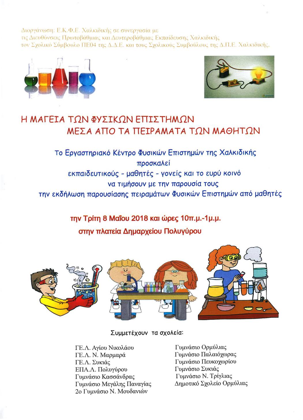 Πειράματα  Φυσικής στο προαύλιο του Δημαρχείου Πολυγύρου