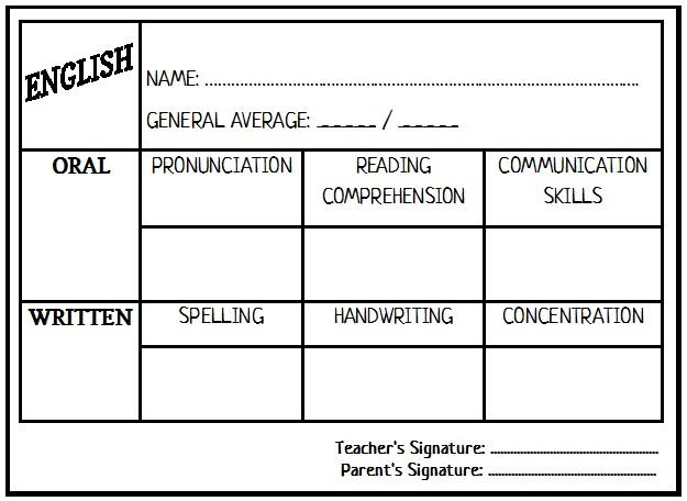 enjoy teaching english report card template