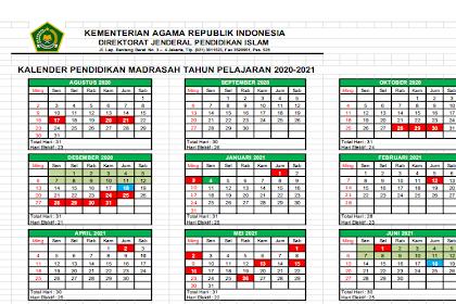 Kalender Pendidikan 2020/2021 Madrasah Jawa Timur Excel