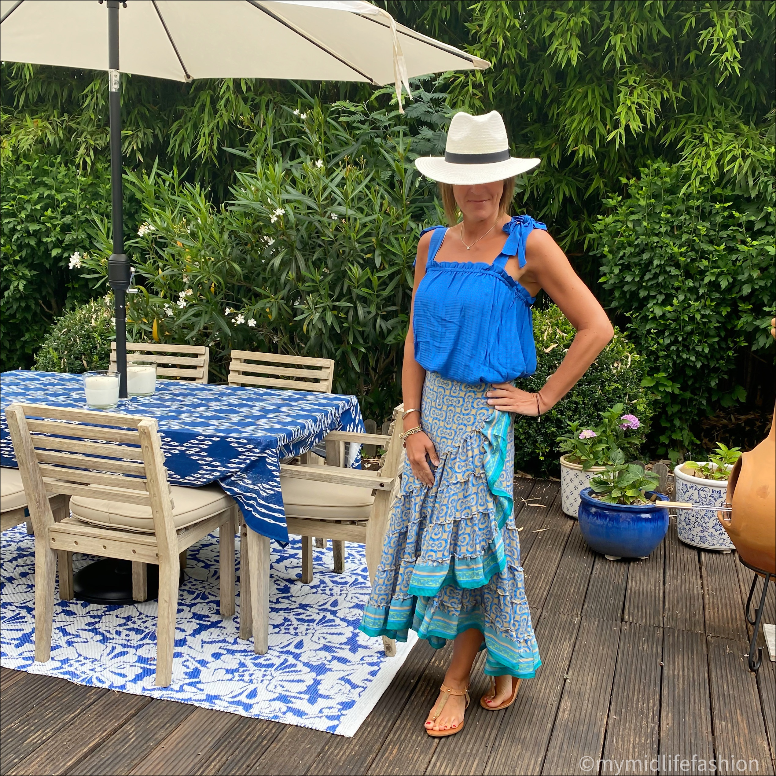 my midlife fashion, zara Panama hat, h and m camisole top, forage Somerset wrap midi skirt, carvela thong leather sandals