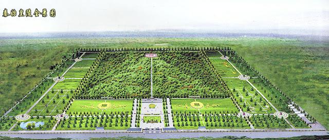 www.fertilmente.com.br - Representação moderna do que se acredita tenha sido a dimensão total do Mausoléu de Qin Shi Huang