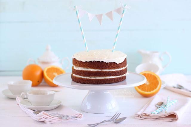 Tarta de zanahoria, naranja y mascarpone sin gluten