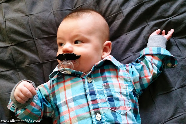 baby, boy, Halloween, costume, plaid shirt, mustache, pacifier, easy costume, cute, dress-up, daddy