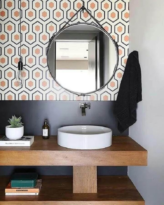 Modern decoration with colored coating and round bathroom mirror