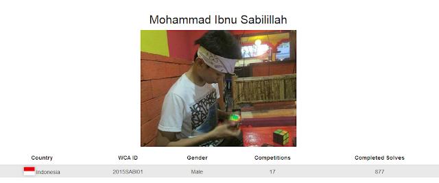 Profile akun WCA dari Mohammad Ibnu Sabilillah yang merupakan cuber Indonesia yang berada pada peringkat ketiga nasional rubik 7x7x7 kategori single