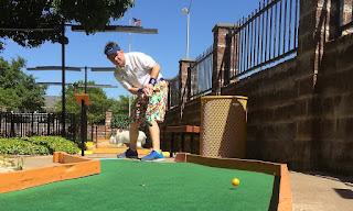 Putt-Putt Pro Matt Bellner playing the course in Arlington, TX
