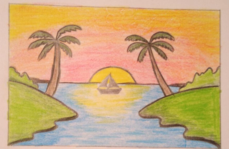 تعليم رسم منظر طبيعي سهل بالألوان الخشبية
