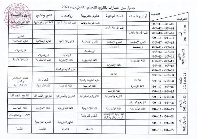 جدول سير اختبار بكالوريا جوان 2021 كاملا جميع الشعب