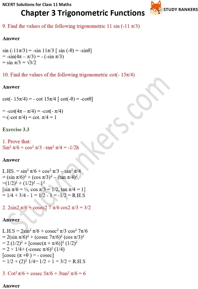 NCERT Solutions for Class 11 Maths Chapter 3 Trigonometric Functions 7