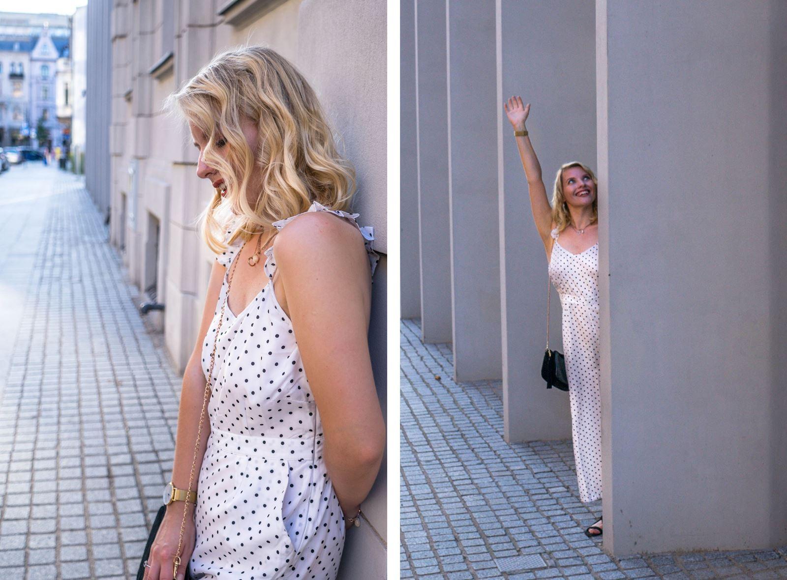 8 modny kombinezon sukienka w groszki jak nosić w grochy sukienki idealne ubranie na wesele w co ubrać się na wesele w lato na poprawiny na-kd opinie modne stylizacje na lato sukienki dla blondynki